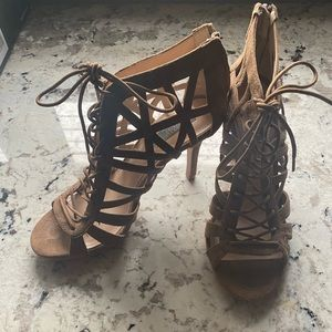 *NEW* Saks Fifth Avenue Lace up Suede Heels